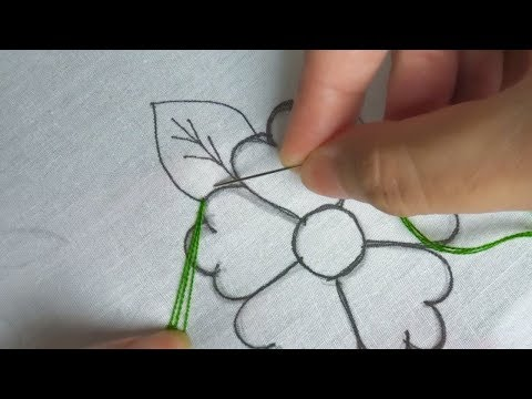 leaf hand embroidery,modern hand embroidery design