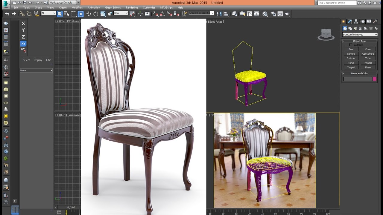 3ds Max Tutorial Model Chair Classic Advanced Step 01 YouTube