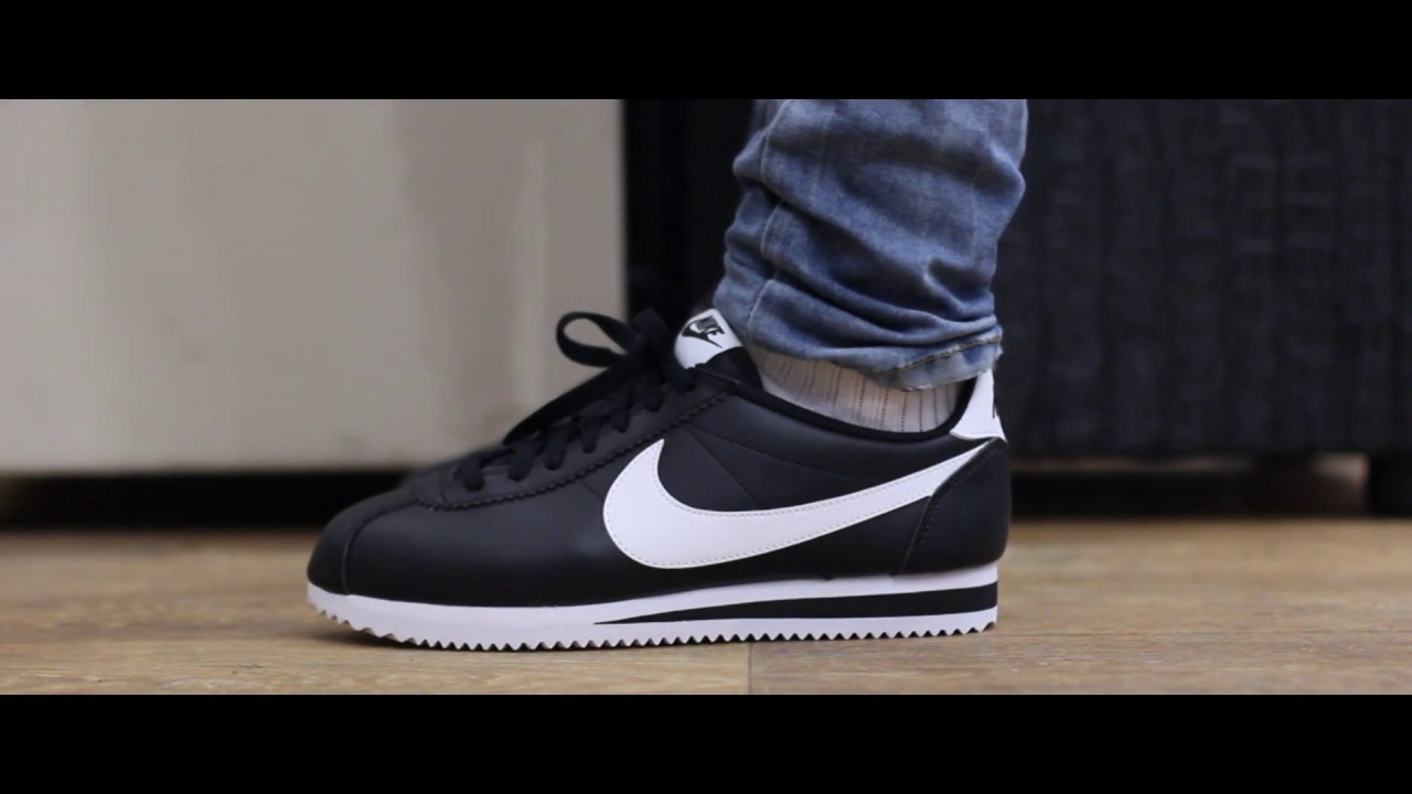 check out bf1d9 8e68a ONFEET   Nike Cortez Classic Leather Black White - YouTube