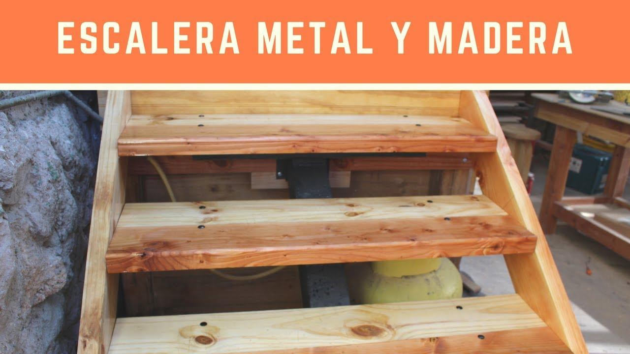 Construcci n escalera metal y madera parte 2 youtube - Peldanos escalera madera ...