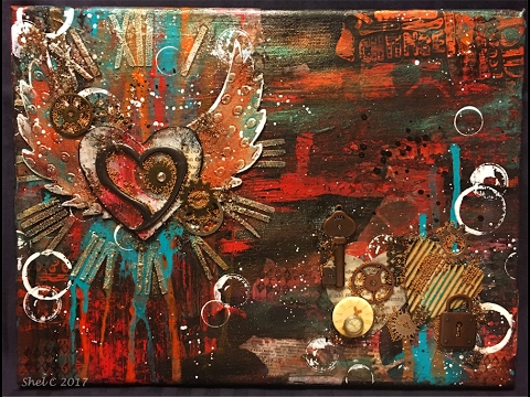 #LoveArt - Mixed Media Steampunk Hearts - Abstract Canvas