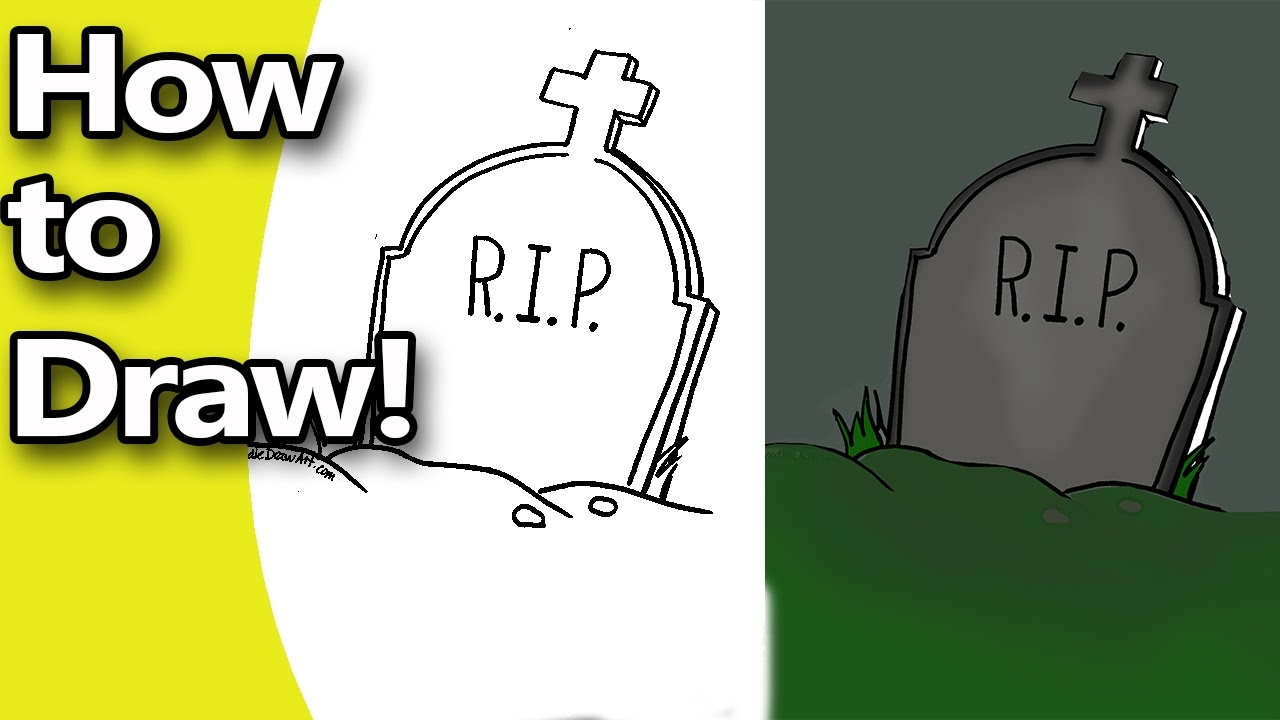 how to draw a halloween tombstone step by step with free coloring page - Tombstone Coloring Page