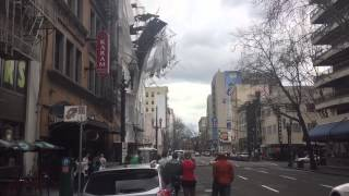 Scaffolding Falling Off Building Downtown Portland, Oregon.
