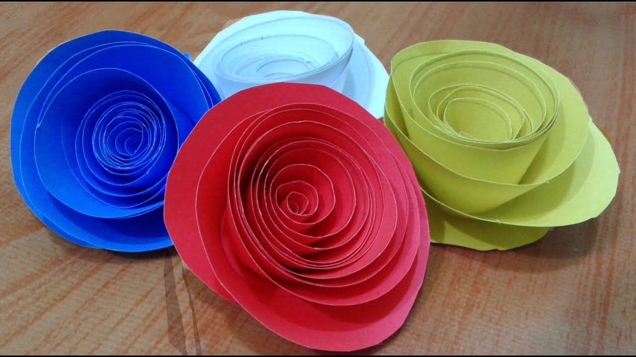 How To Make Rolled Paper Rosespaper Flower Paper Crafts Youtube
