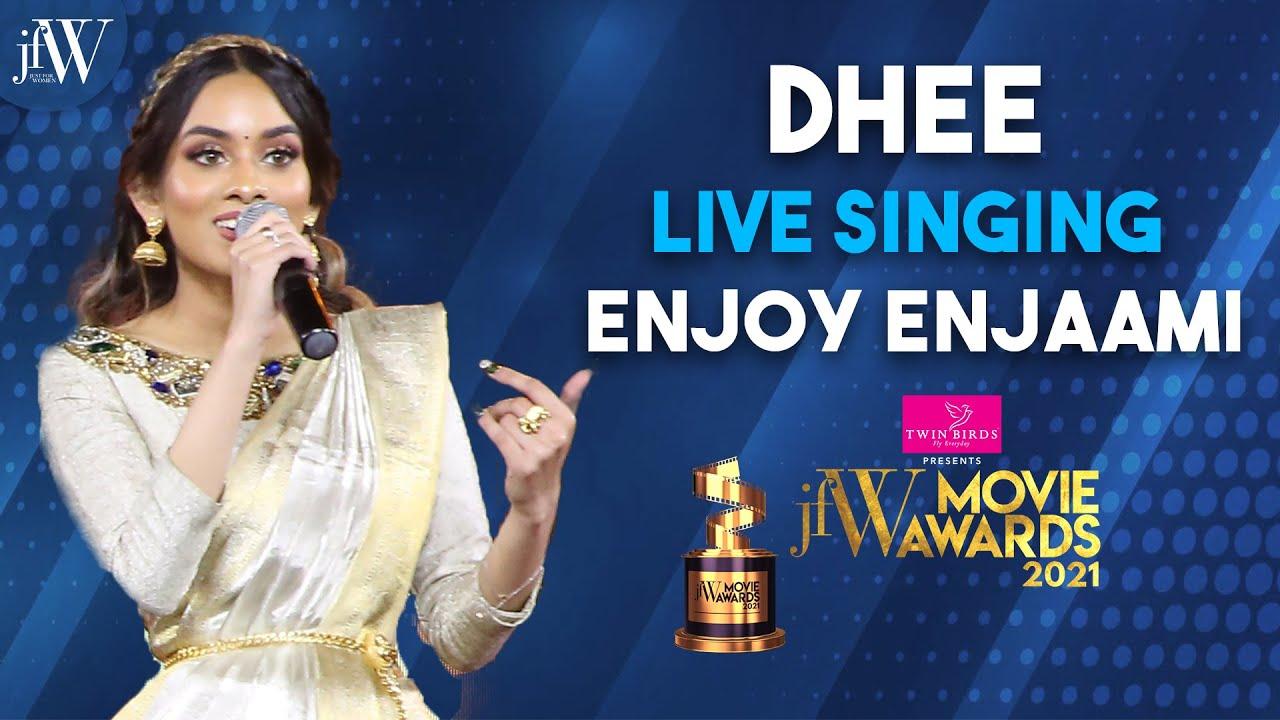 Dhee live singing Enjoy Enjaami  JFW Movie Awards  Best Singer  Soorarai Pottru  JFW