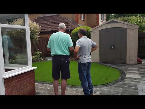 Granite Patio And Artificial Grass Lawn Before and After