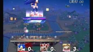 Brawl Hacks - Giant Growing Sonic/Super Sonic v.s. Mario and Peach