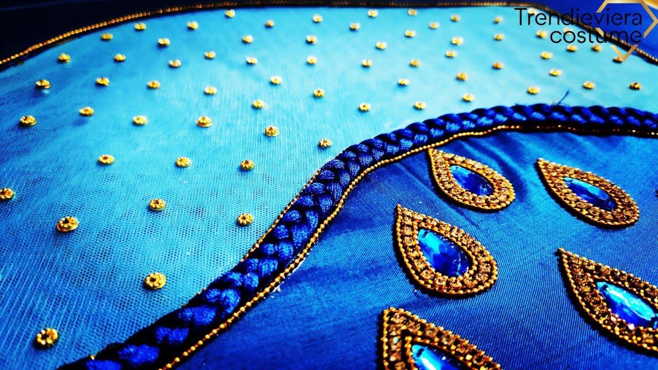beautiful net cloth cut work design using normal needle