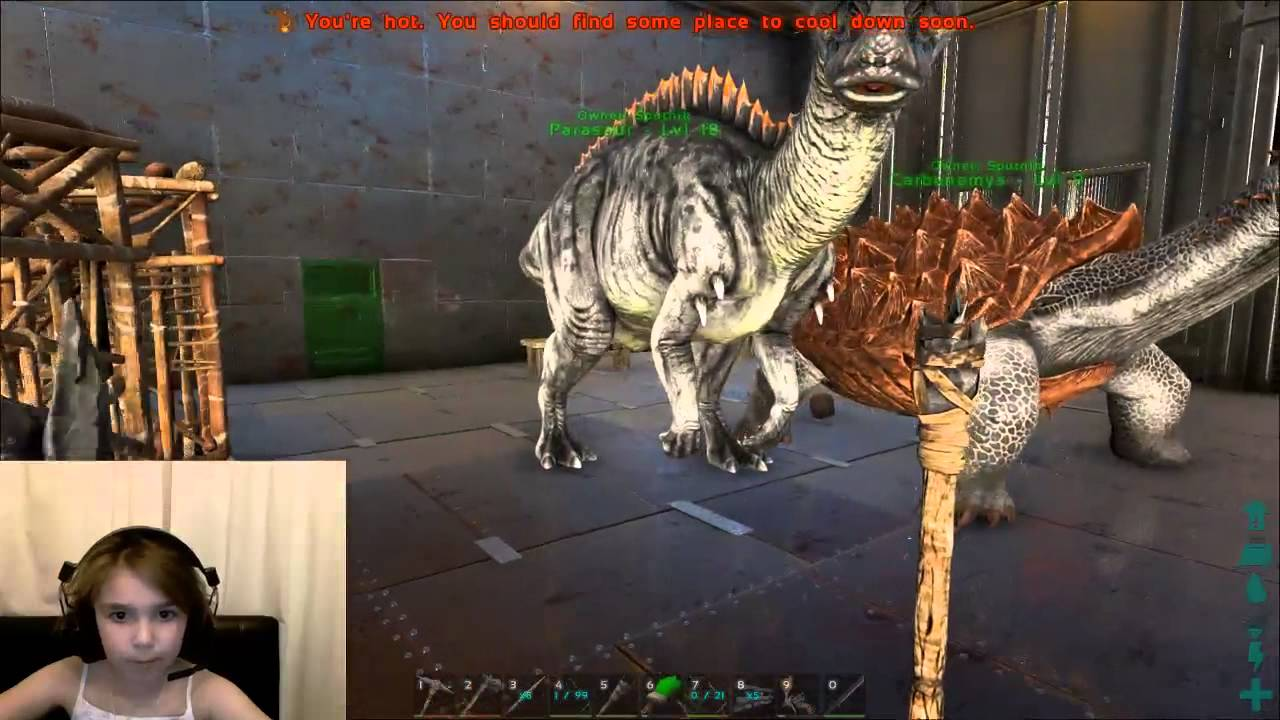 Little Girl Builds Her Base And Tames Dinosaurs On Ark -2685