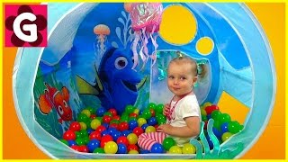 Gaby playing with Finding Dory Ball Pit Tent