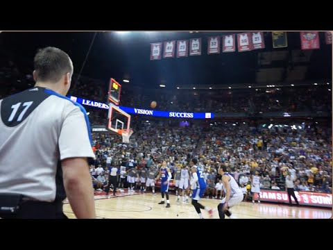 LIVE COURTSIDE TO NBA BUZZER BEATER!! (MEETING NBA PLAYERS)