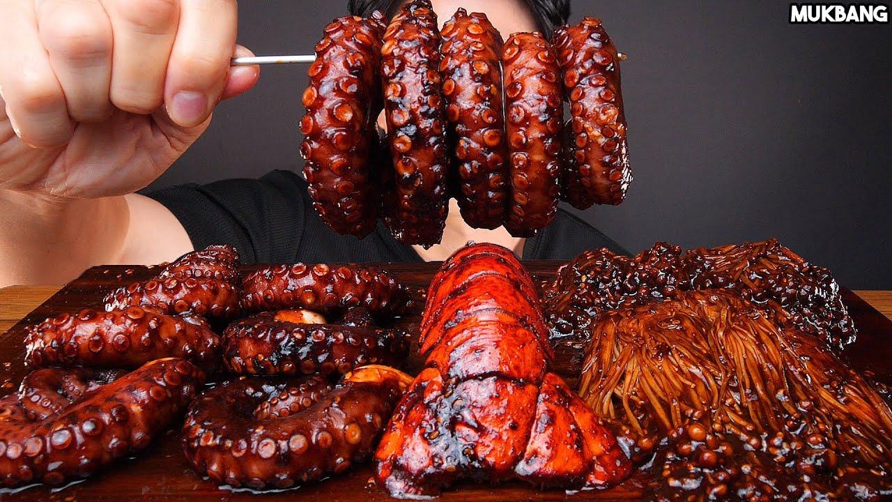 ASMR MUKBANG | SPICY BLACK BEAN SEAFOOD BOIL & MUSHROOM 🐙 OCTOPUS EATING SOUND 짜장불닭 팽이버섯 문어 먹방
