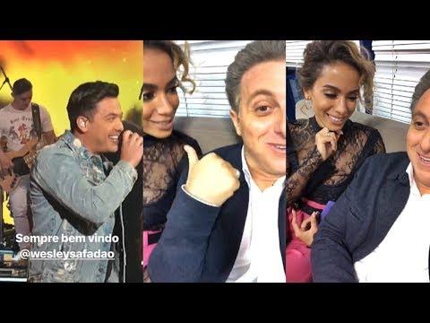 Luciano Huck gravando com Anitta e Wesley Safadão