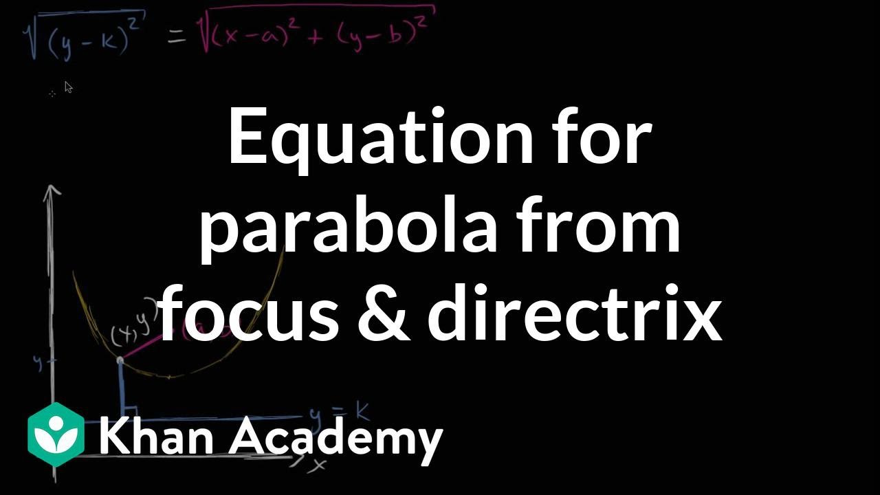 Equation of a parabola from focus & directrix (video) | Khan