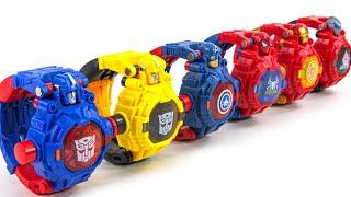 Optimus Prime Bumblebee Iron Man Spider Man Ultra Man Captain America Beam Watch Robot Toys