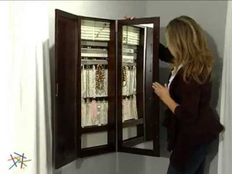 Tri fold Photo Frame & Mirror Wall Mount Jewelry Armoire Espresso ...
