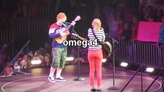 Taylor Swift introduces Ed Sheeran wearing Atlanta Hawks basketball team shirt