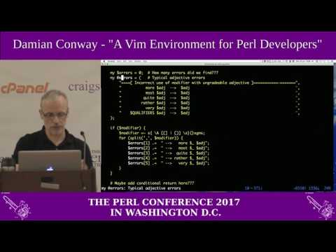 "Damian Conway - ""A Vim Environment For Perl Developers"""