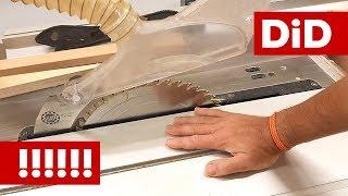 889. BHP: praca na stołowej pilarce tarczowej