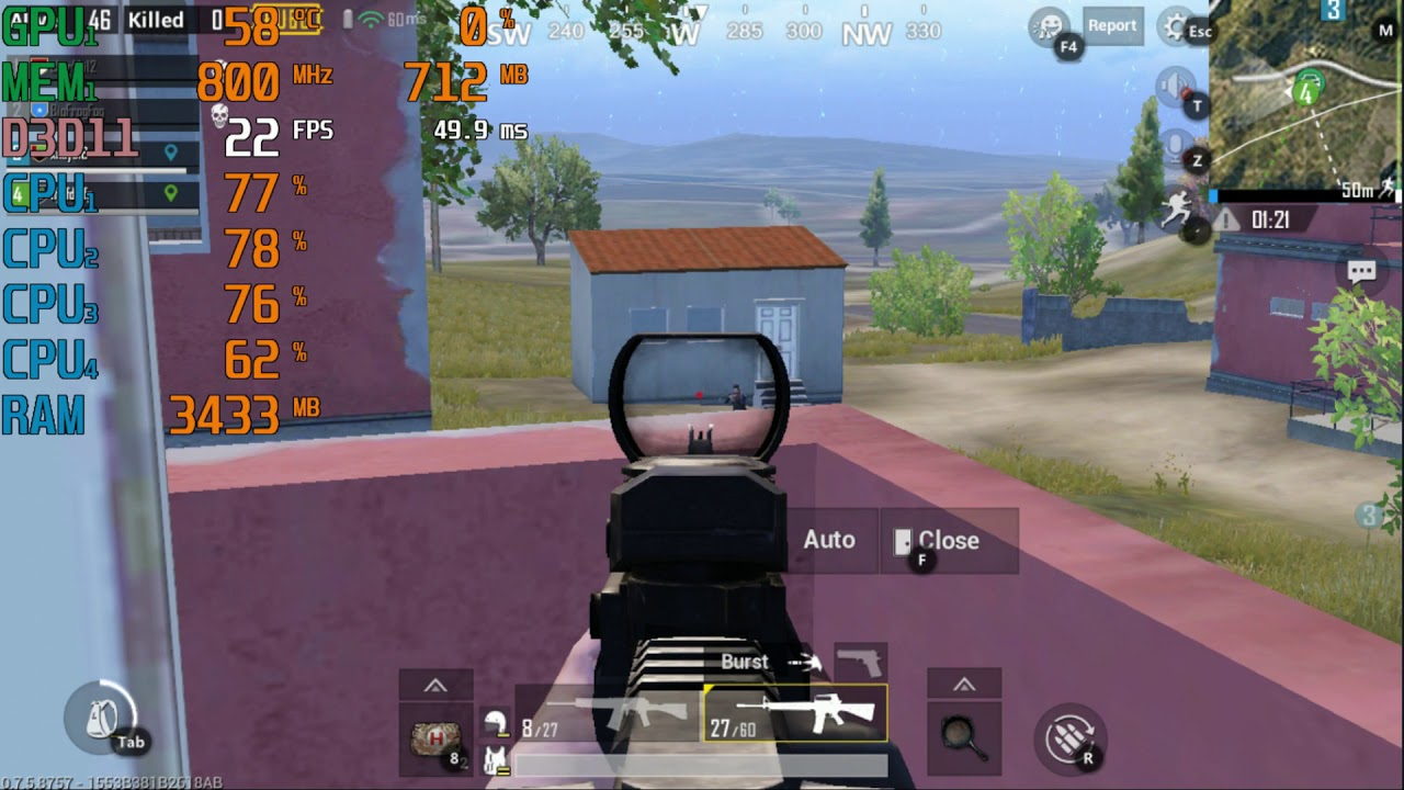 AMD A8-7100 \ Radeon R5 (Kaveri) \ Tencent Gaming Buddy Emulator PUBG  Mobile @720p low settings