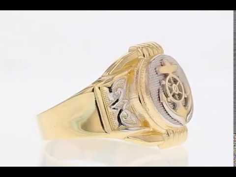 Two Tone Gold Anchor Navy Round Fancy Mens Ring (JL#2483)