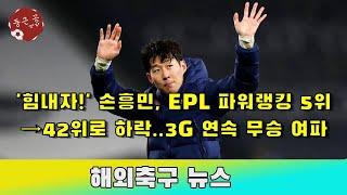 '힘내자!' 손흥민, EPL 파워랭킹 5…
