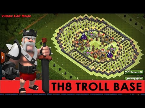 Clash Of Clans | Phenomenal TH8 Troll Base | The Colosseum | + Funny CoC Defensive Replays [2016]