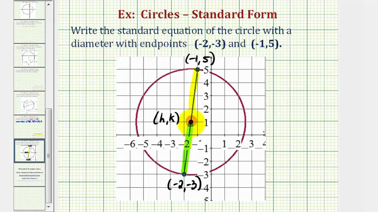 worksheet Writing Equations Of Circles similiar standard equation of a circle keywords ex 2 find given the endpoints a