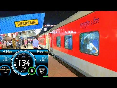 Onboard HOWRAH RAJDHANI : 130 kmph High Speed Journey Compilation HOWRAH - MUGHALSARAI Part 1