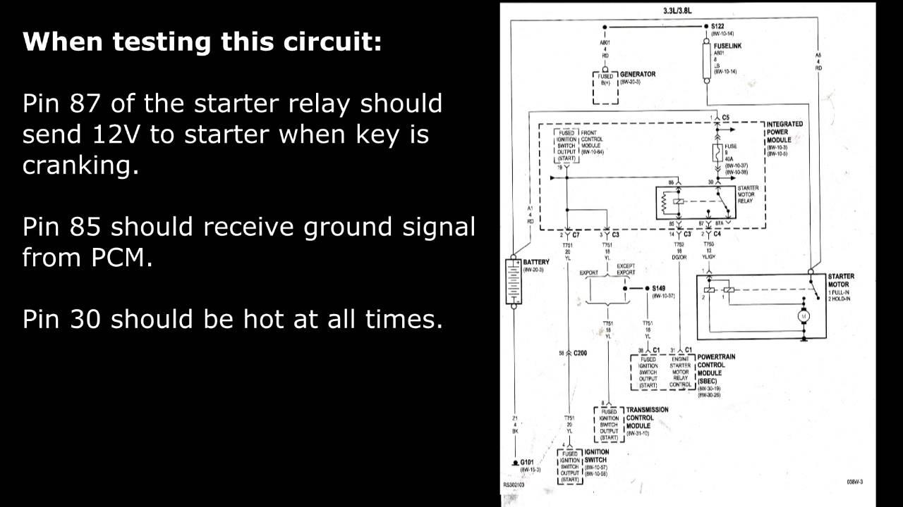 2003 dodge ram ignition switch wiring diagram 2004 mazda 3 radio caravan - starter motor testing starting system 3.3 l 3.8 youtube