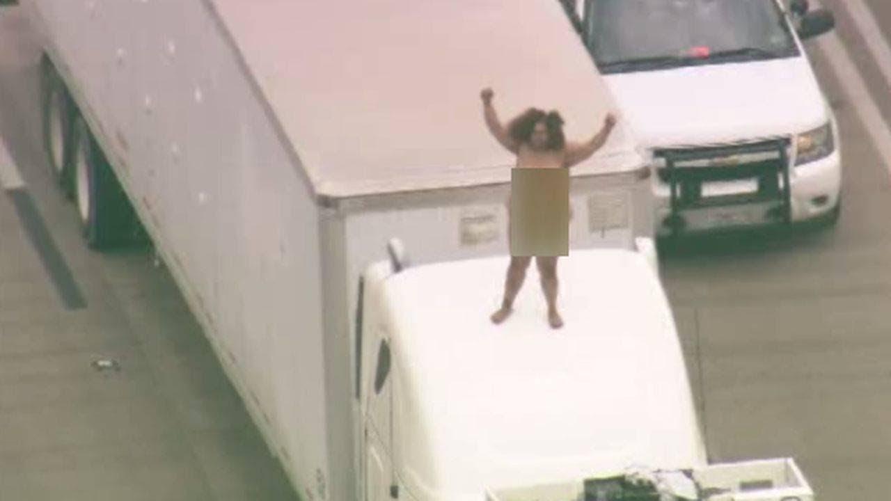 Houston highway 290 shut down by crash, dancing naked