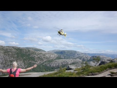 Helicopter Rescues Injured Hiker at Pulpit Rock Norway (FULL VIDEO)