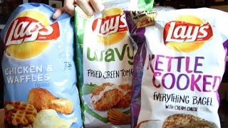 NEW Lays Potato Chips Review! (Chicken and Waffle, Fried Green Tomatoes, and Everything Bagel)