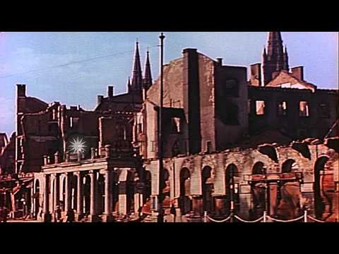 Civilians, damaged buildings and monuments of Leipzig in Germany after United Sta...HD Stock Footage