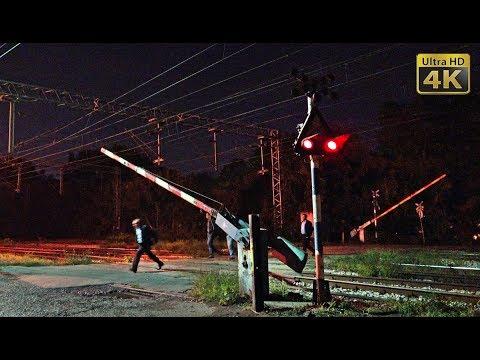 Railroad crossing Topcider (Belgrade - south main line) - night trains [4K]