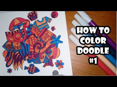 Cara Mewarnai Doodle Dengan Spidol How To Color Doodle Doodle