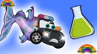 POLICE CAR Turns Into a Fish drinking a magic potion | cars cartoons for kids