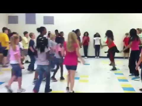 Zumba (r) at Warrington elementary school with Robin