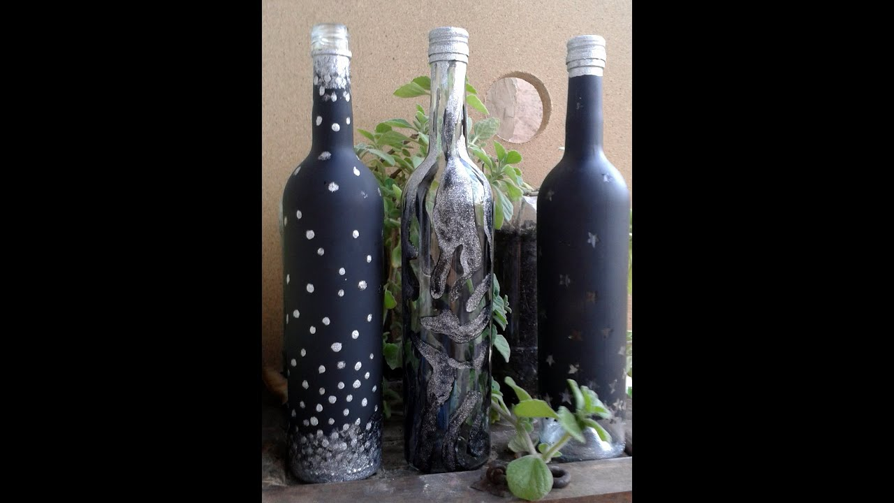 Botella de vidrio decorada con estrellas paso a paso youtube - Botellas de cristal decoradas ...