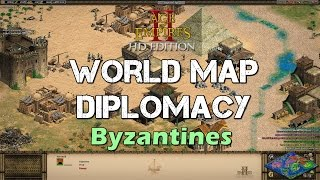 World Map Diplomacy - Byzantines - Fire ship spam - Age of Empires 2 HD Casual Multiplayer Scenario