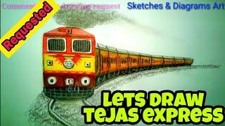 Lets Draw Tejas Express || INDIAN RAILWAYS || Sketches & Diagrams Art ||