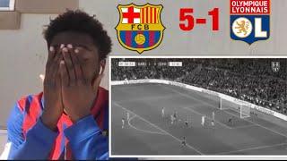 Man utd biggest fan react to Barcelona destroying Lyon 5-1 ⚽️⚽️⚽️⚽️⚽️