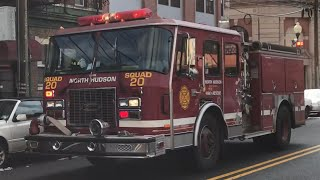 NORTH HUDSON REGIONAL FIRE & RESCUE ENGINE 5, USING SPARE SQUAD 20, RESPONDING ON PARK AVE WEEHAWKEN