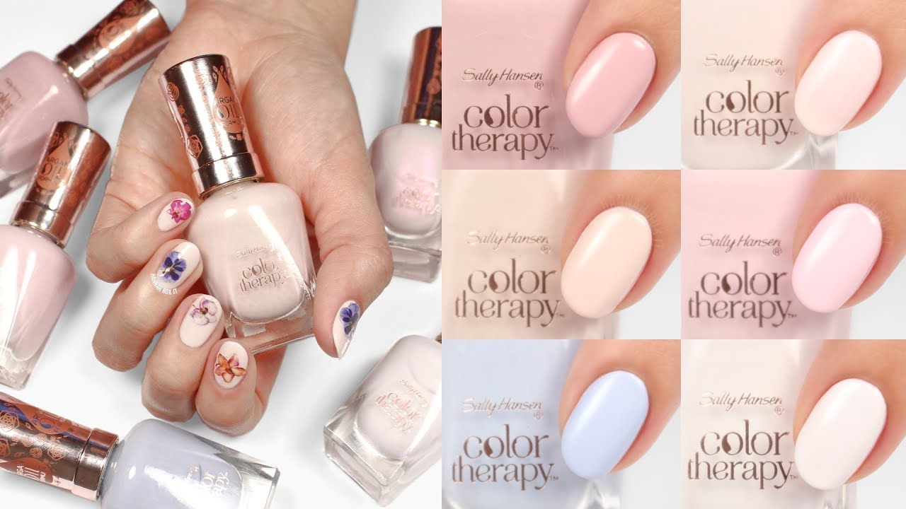 Sally Hansen Color Therapy Floral Swatches Nail Art