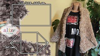👉🏻Кардиган из прямоугольника 👌🏻 БЕЗ спиц и крючка / Cardigan Knitting without needles and hook