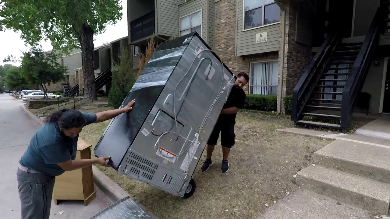 Moving A French Door Refrigerator Upstairs In Dallas Tx