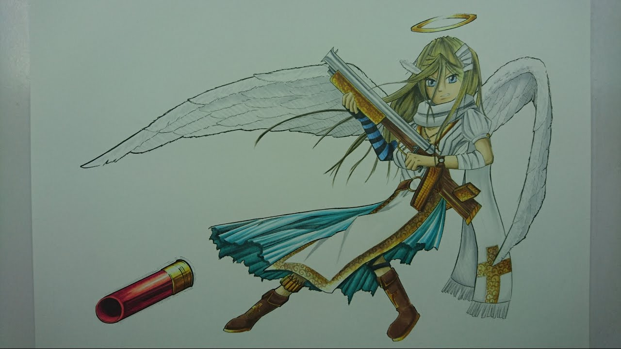 Time Lapse Drawing: An Angel with a Shotgun (Original Character) - YouTube