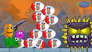 Красный шар и живая капсула против квадрата - мультик игра. Добрый красный шарик и киндер сюрприз