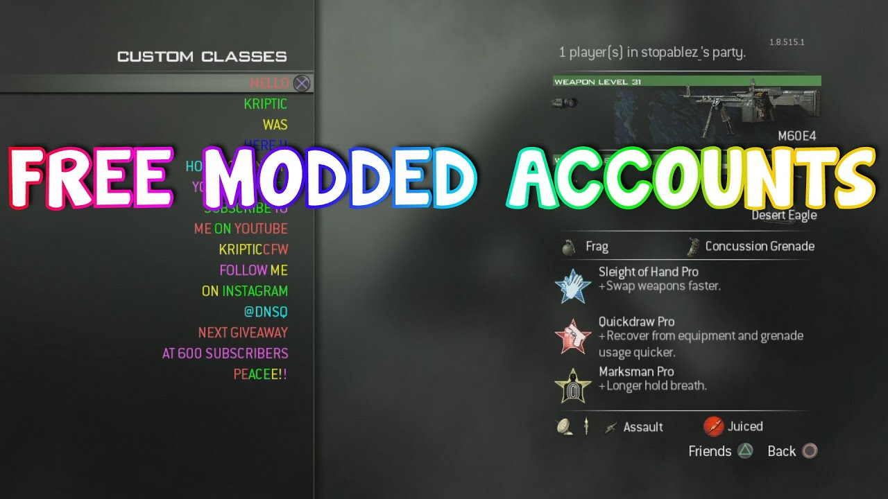Free Modded Accounts For Bo2  Mw3  An Mw2  Ps3  Xbox