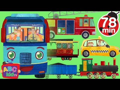 Wheels on the Bus and Vehicles |+ More Nursery Rhymes & Kids Songs - ABCkidTV
